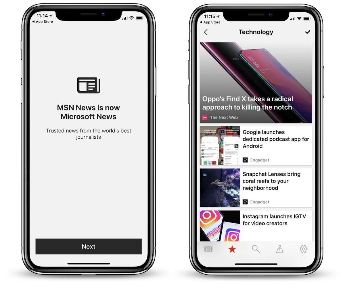 Microsoft Launches Rebranded 'Microsoft News' App for iOS