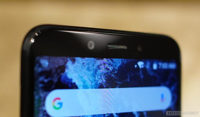The Xiaomi Mi A2 front camera closeup.