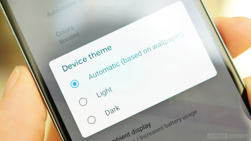 Android 9 Pie review device theme light, dark, automatic