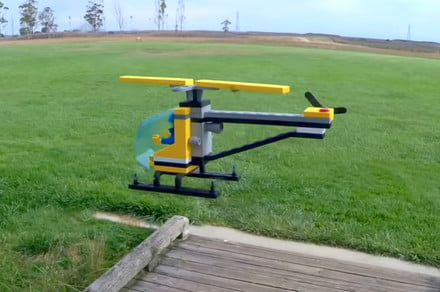 Watch this giant 'Lego' helicopter drone take to the skies