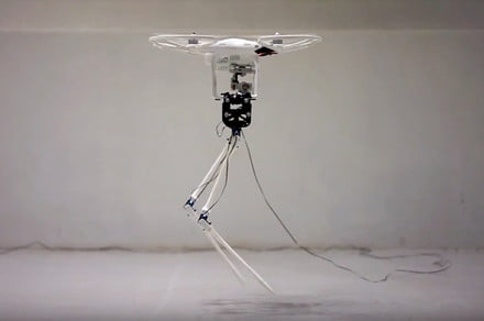 Bizarre stork robot uses a drone to compensate for its weak, twig-like legs