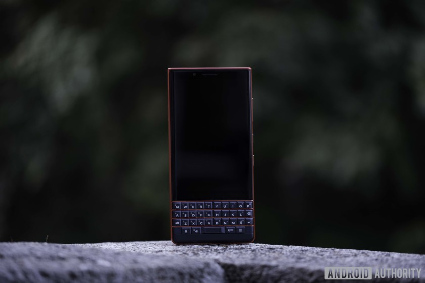 Blackberry Key2 LE front, keyboard with atomic red frets, and LCD display