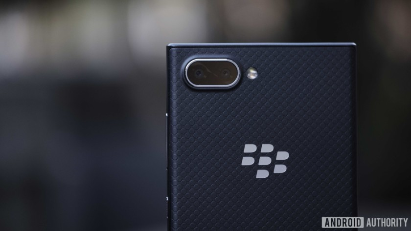 Blackberry Key2 LE slate - close-up of the top of the back showing dual cameras and plush finish
