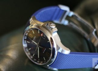 Never be late again. This analog watch is accurate to the millisecond