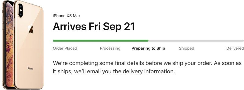 iPhone XS and iPhone XS Max Pre-Orders Now Preparing to Ship