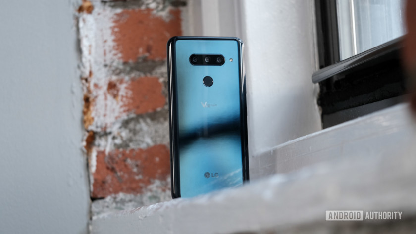 LG V40 ThinQ sitting on a window sill, LG V40 review