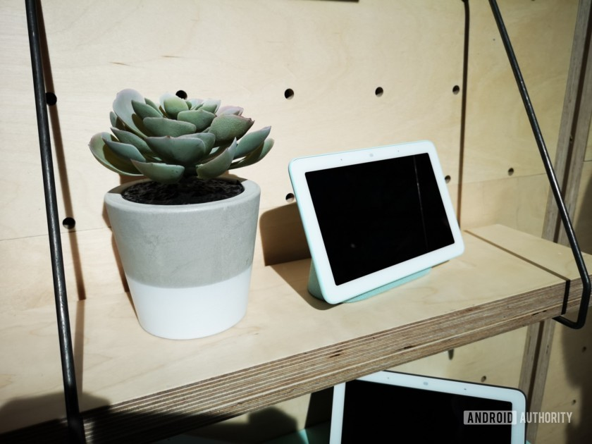 Google Home Hub on a shelf