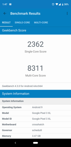 Google Pixel 3 XL benchmark - Geekbench 4