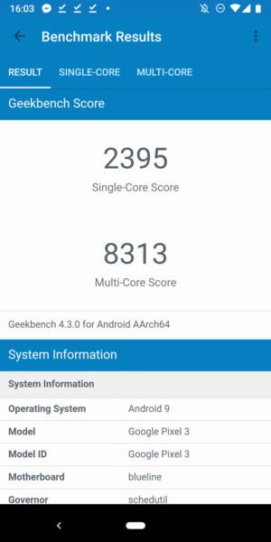 Google Pixel 3 benchmark - Geekbench 4