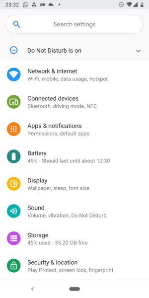 Google Pixel 3 - settings menu