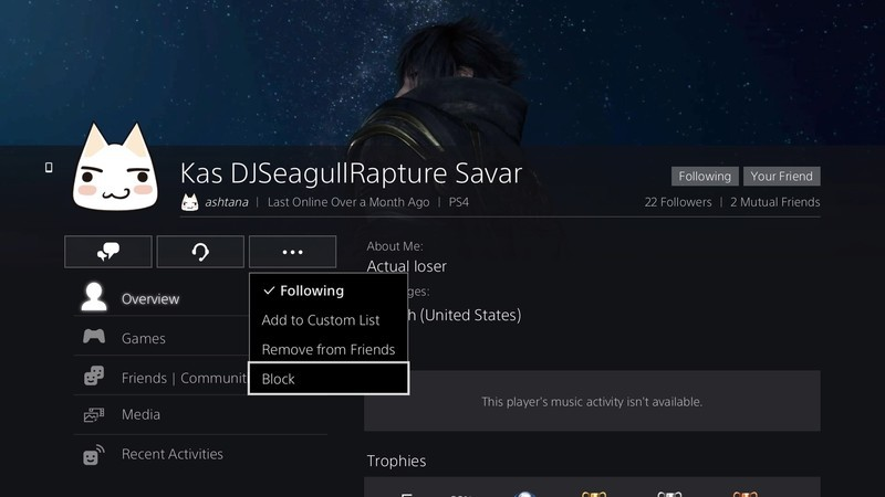 How to block and report players on PlayStation 4 - AIVAnet