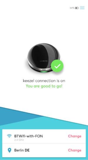 Keezel settings menu showing connected status