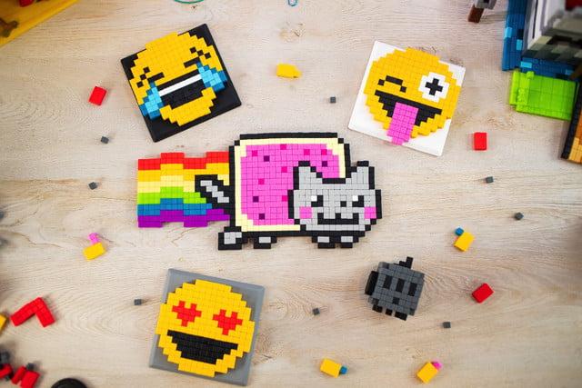 pixl lego bricks meet minecraft fidget cube kickstarter  emojis