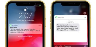 Haptic Touch Will Work With Notifications on iPhone XR in iOS 12.1.1