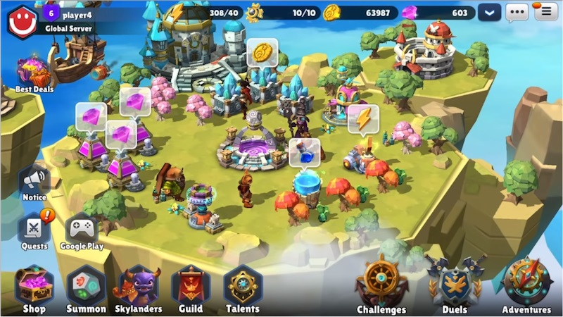 Skylanders Ring of Heroes review town buildings