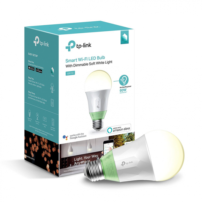 Voice control or schedule the dimmable Kasa Smart LED Light Bulb for $14