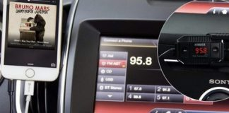 The $7 iClever Himbox FM transmitter plays your music over the car radio