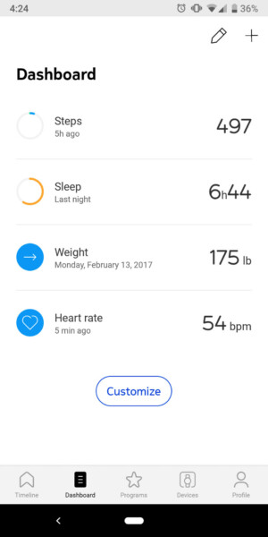 withings move health mate dashboard