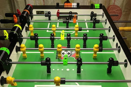 FoosFit foosball trainer gives you a robot opponent to hone your
