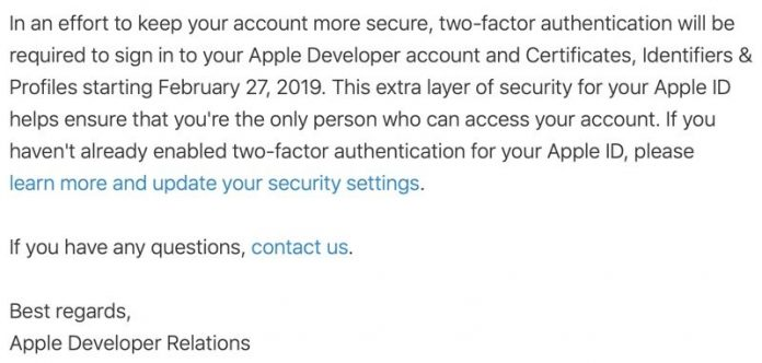 Apple Requiring Two-Factor Authentication for Developer Accounts as of February 27
