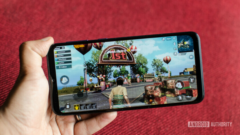 Samsung Galaxy M30 display with PUBG game