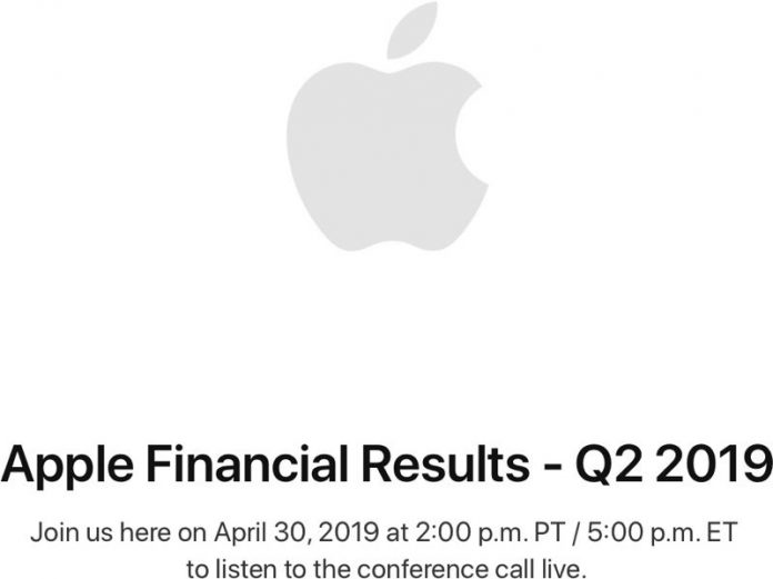Apple to Announce Q2 2019 Earnings on April 30