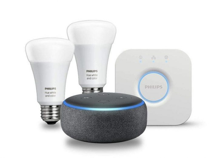 The Philips Hue 2-bulb starter kit includes an Echo Dot for $90 total