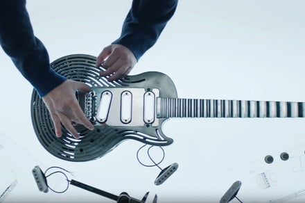 Even a true rock god can't smash this unbreakable 3D-printed metal guitar