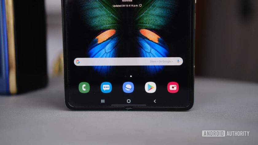 Samsung Galaxy Fold lower half tablet mode on table
