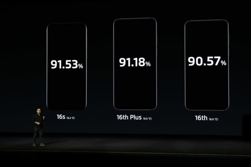 Meizu compares the screen-to-body ratios between the Meizu 16s, Meizu 16th Plus, and Meizu 16th
