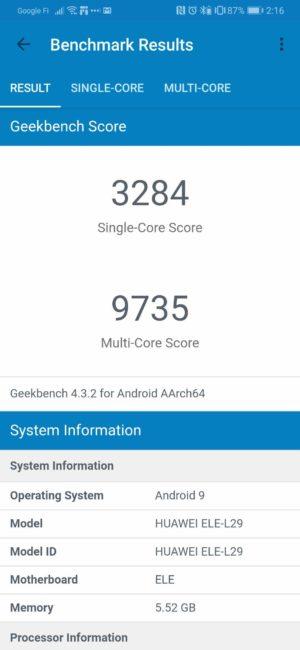 Huawei P30 Geekbench Score