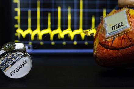 A battery-free pacemaker harvests and stores energy from heartbeats