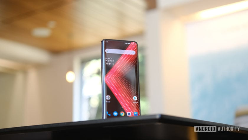 OnePlus 7 Pro screen upright on table
