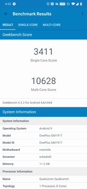 OnePlus 7 Pro Geekbench score