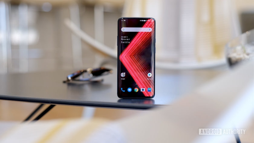 OnePlus 7 Pro alone on table screen