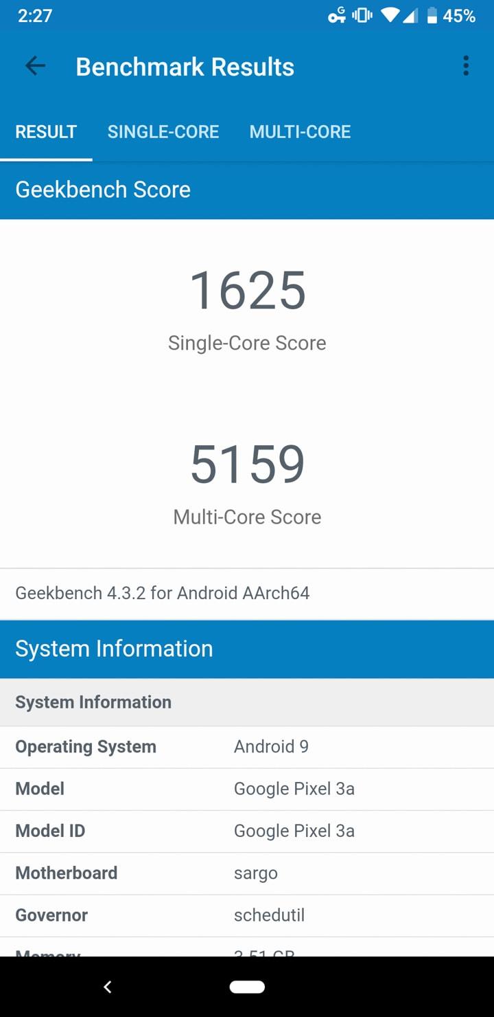 Google Pixel 3a Geekbench Benchmarks