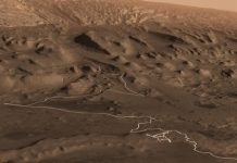 See a fly-over of Mars and track the path Curiosity will take up Mount Sharp