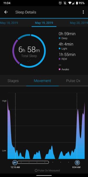 garmin connect sleep tracking movement
