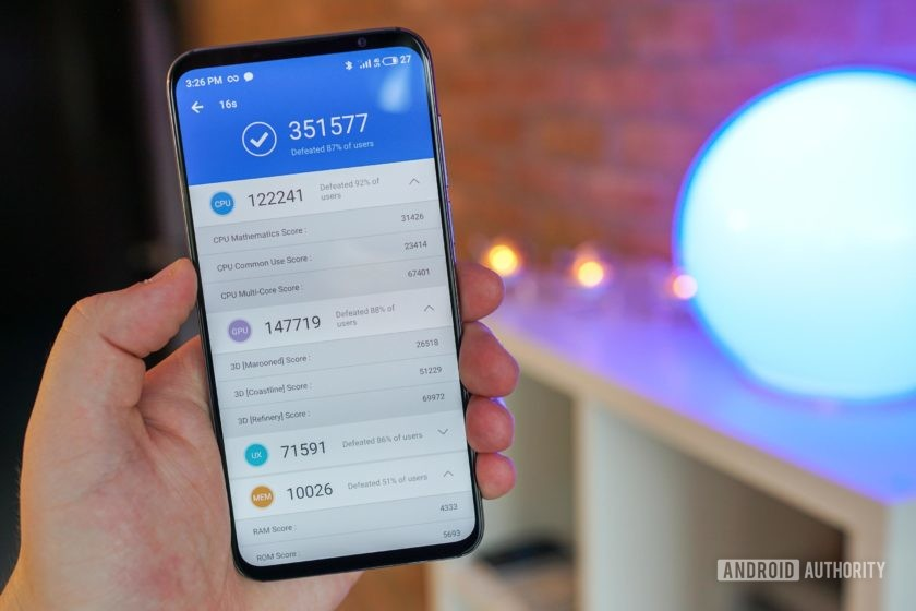 Meizu 16s Antutu benchmark result with overall score of 351,577