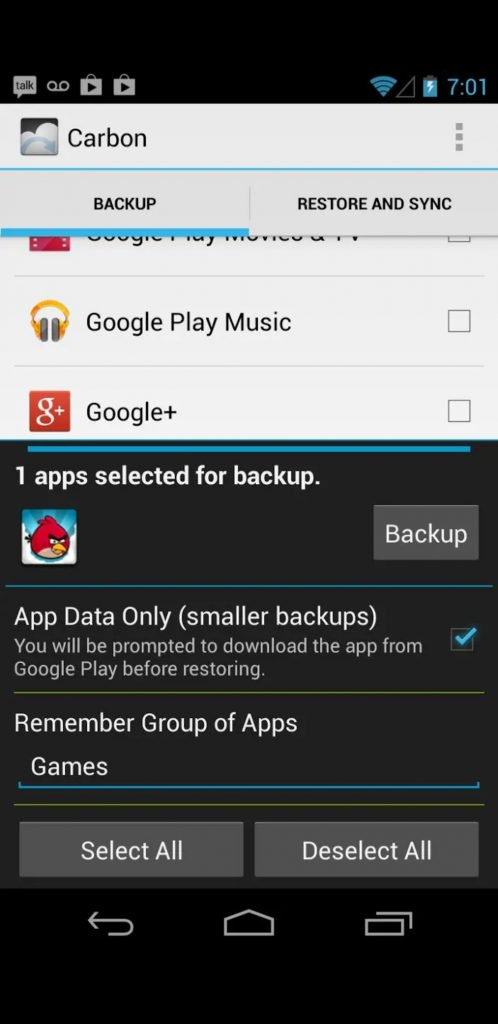 backup Android games