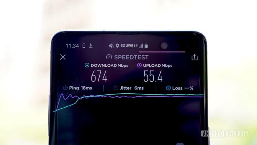 Samsung Galaxy S10 5G Verizon Wireless 674Mbps