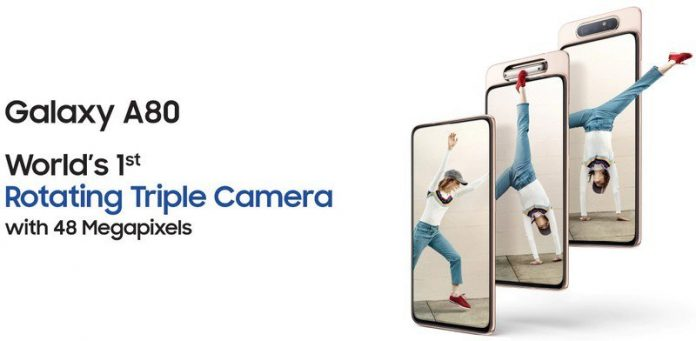 Galaxy A80 with rotating camera shows up on Samsung India ahead of launch