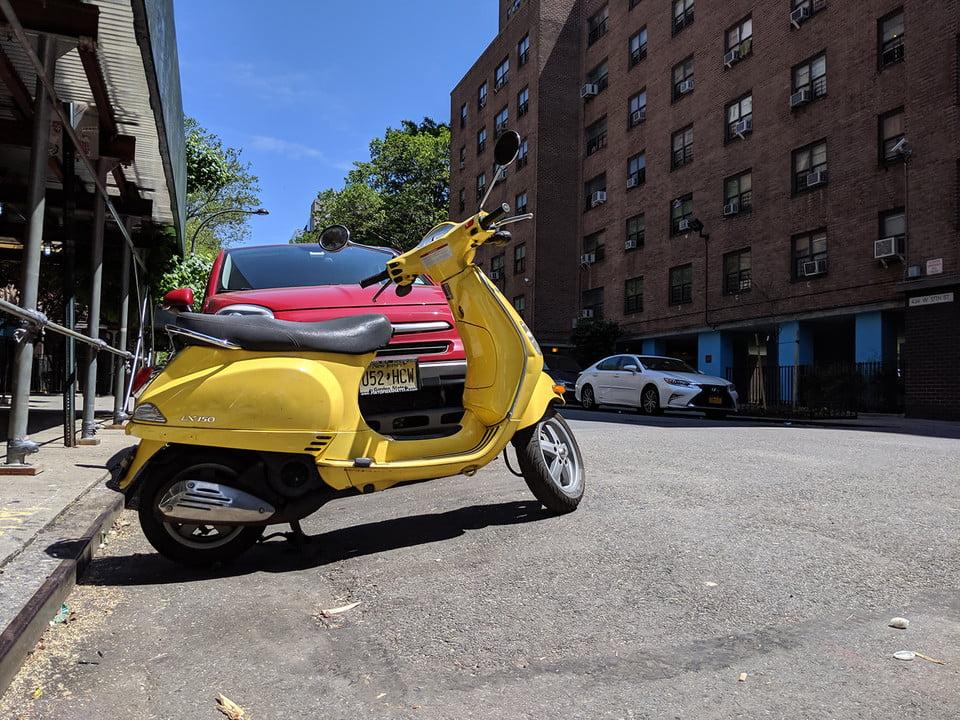 galaxy s10 vs iphone xs nokia 9 oneplus 7 pro pixel 3a huawei p30 camera shootout yellow motorcycle xl