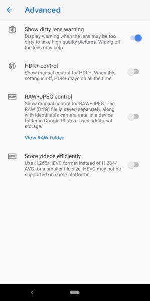 Google Pixel 3a XL Camera Review Camera app advanced settings
