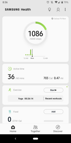 samsung health app home screen steps