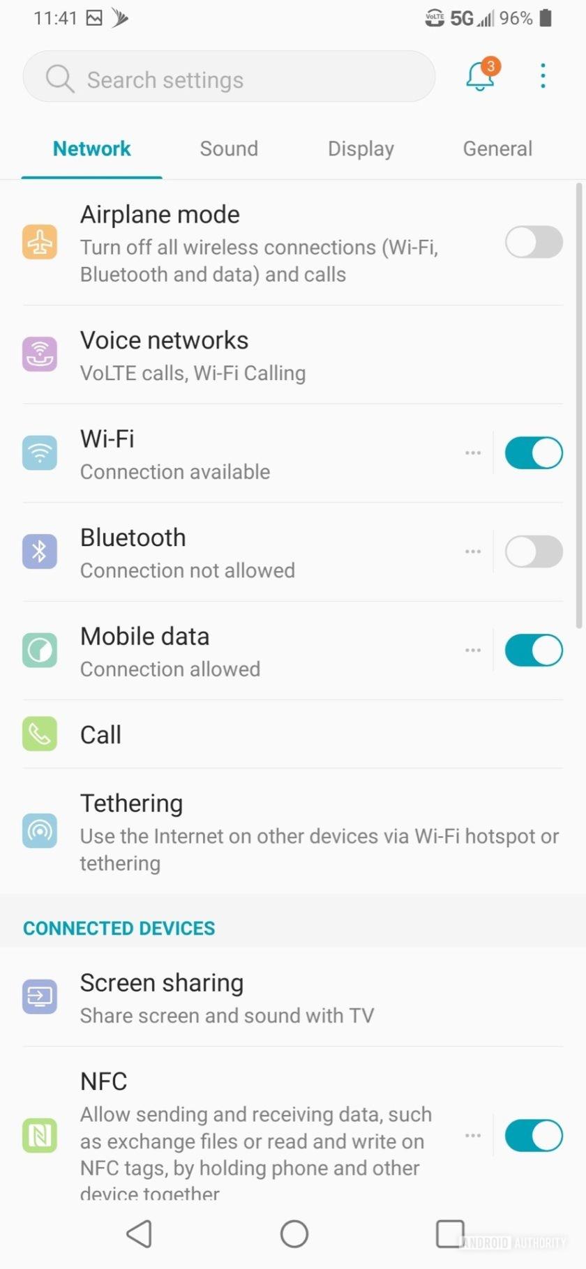 LG V50 ThinQ Review tabbed system settings
