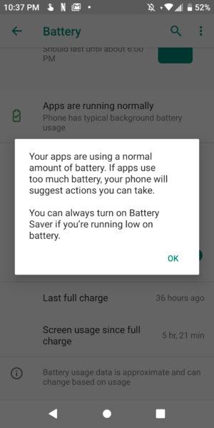 Coolpad Legacy Battery Warning