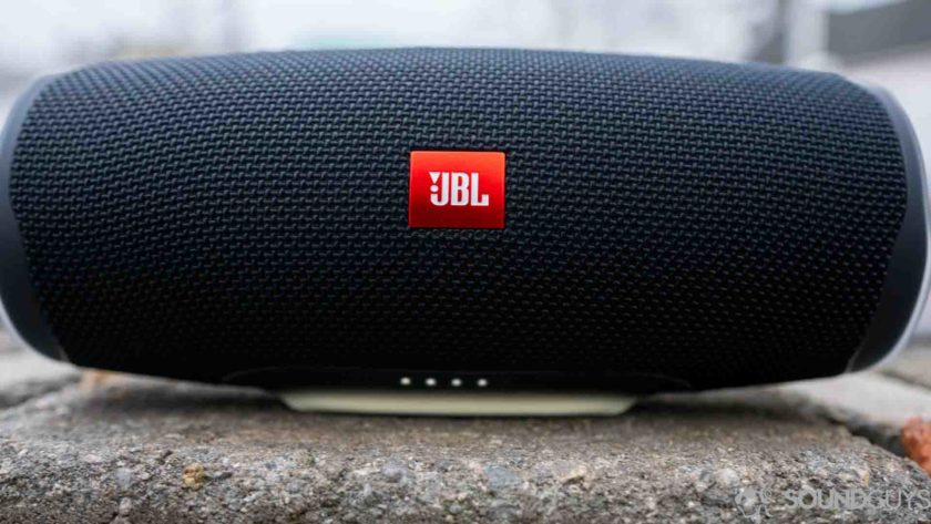 Pictured are the battery indicator lights of the JBL Charge 4.