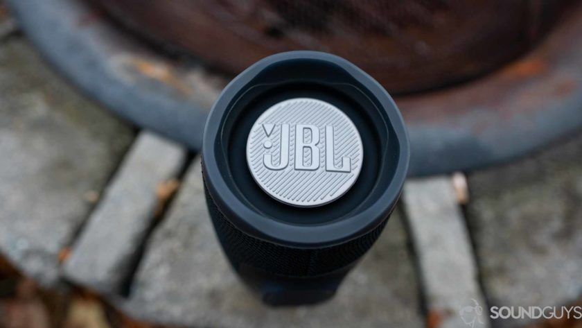 Pictured is the exposed passive radiator of our review unit JBL Charge 4.