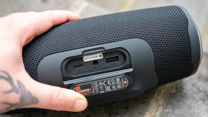 Pictured is the USB-C, 3.5mm input, and USB output on the JBL Charge 4 review unit